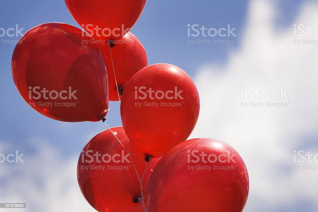 Helium Party Balloons Against Sky for Celebration Events royalty-free stock photo