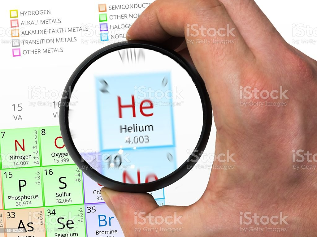 Helium symbol. Element of the periodic table zoomed with ma stock photo