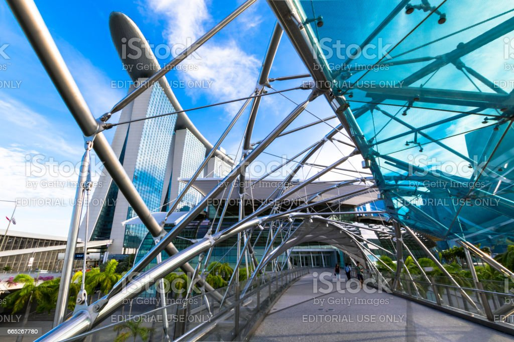 Helix Bridge, Singapore stock photo