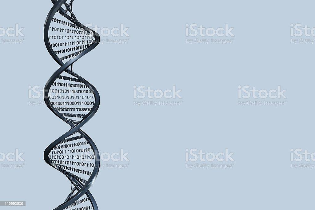 3D Helix with binary code stock photo