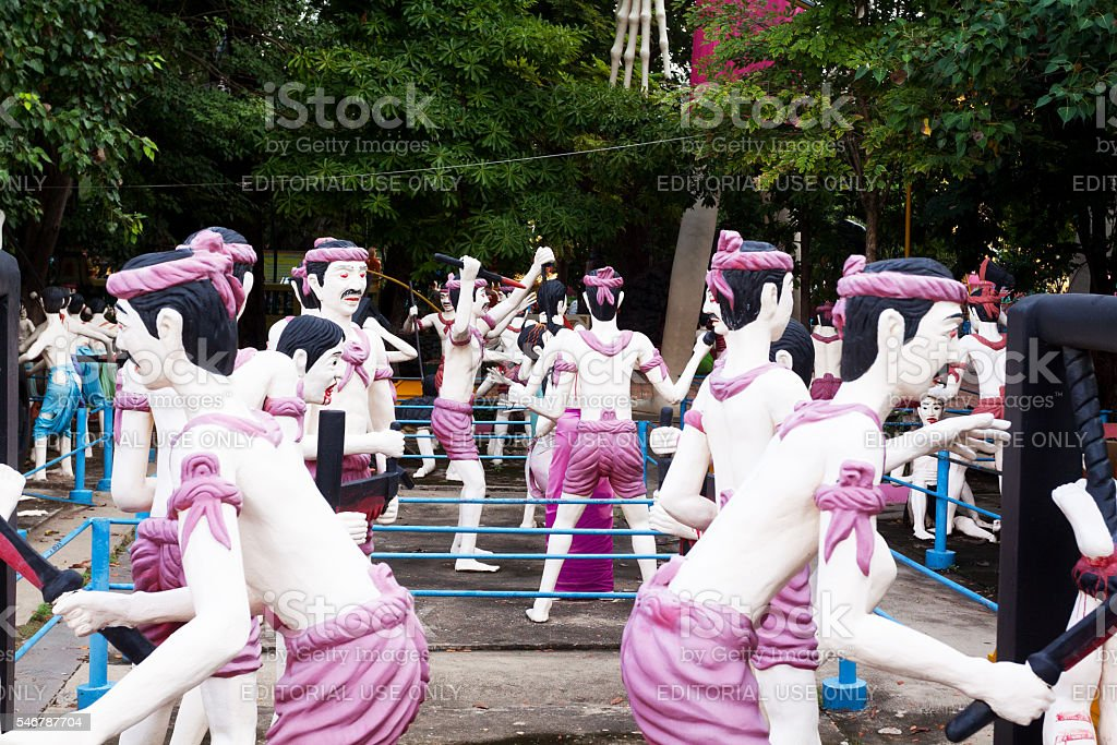 Hell and torture scenes in tempe Wat Muang stock photo