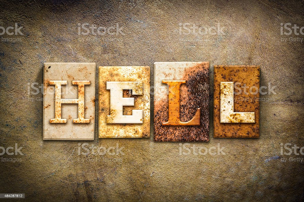 Hell Concept Letterpress Leather Theme stock photo