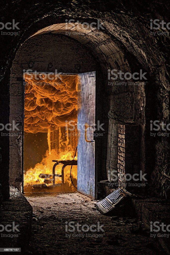 Hell door stock photo