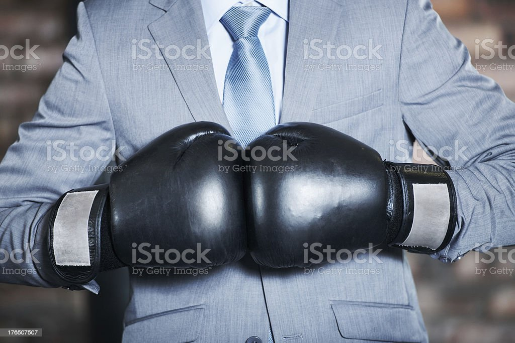 He'll fight his way to the top! stock photo