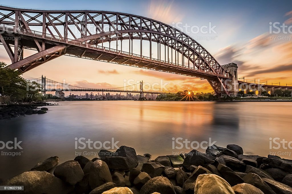 Hell Gate and Triboro bridge at sunset stock photo