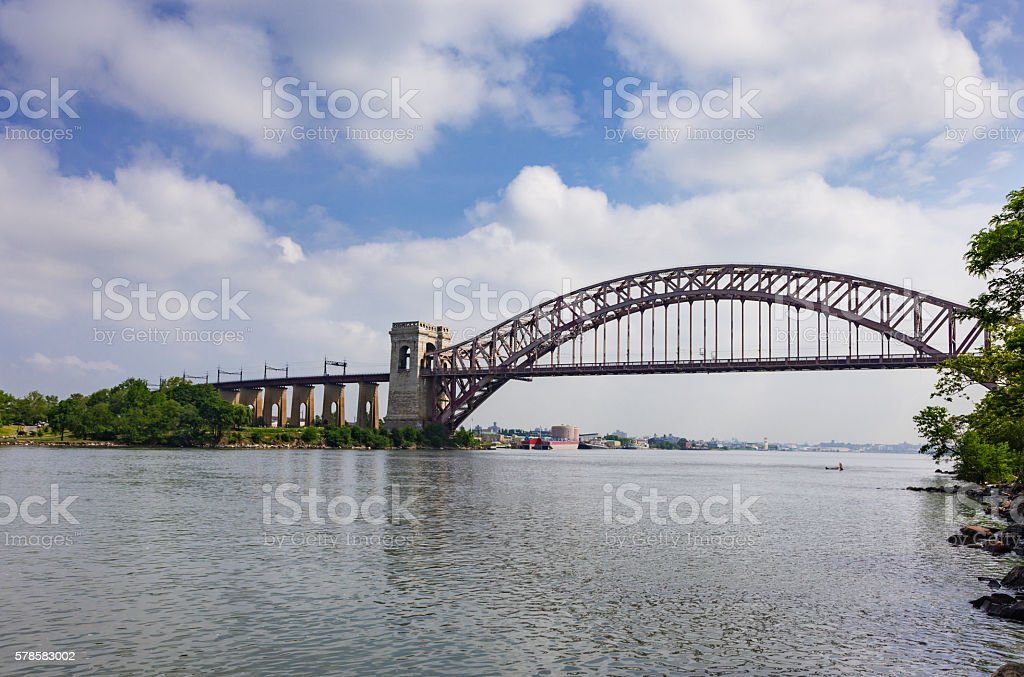Hell Gate Bridge and East River, New York City. stock photo