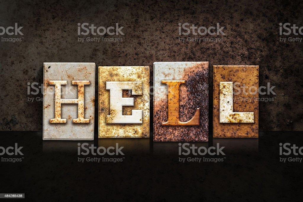 Hell Letterpress Concept on Dark Background stock photo