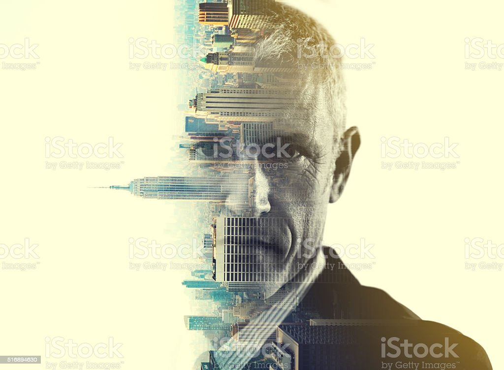 He'll turn this city on it's head stock photo