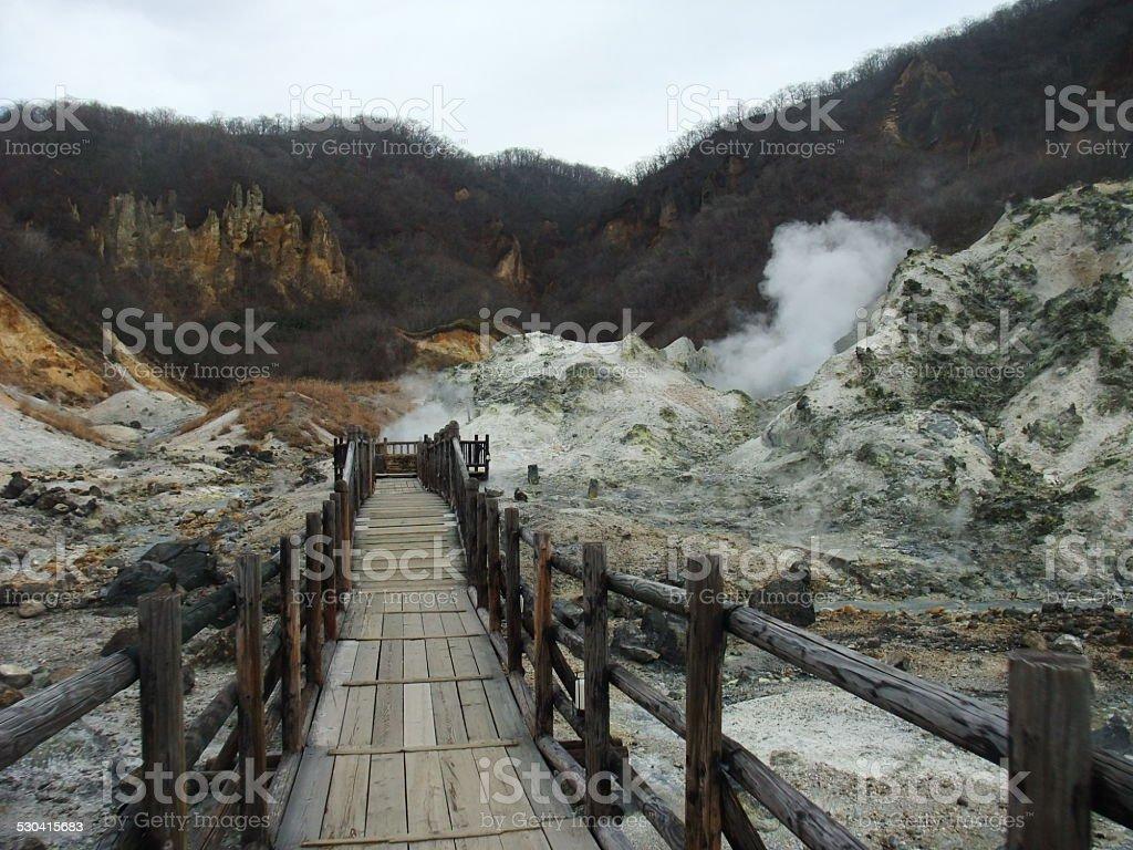 Infierno valley, Jigokudani foto de stock libre de derechos