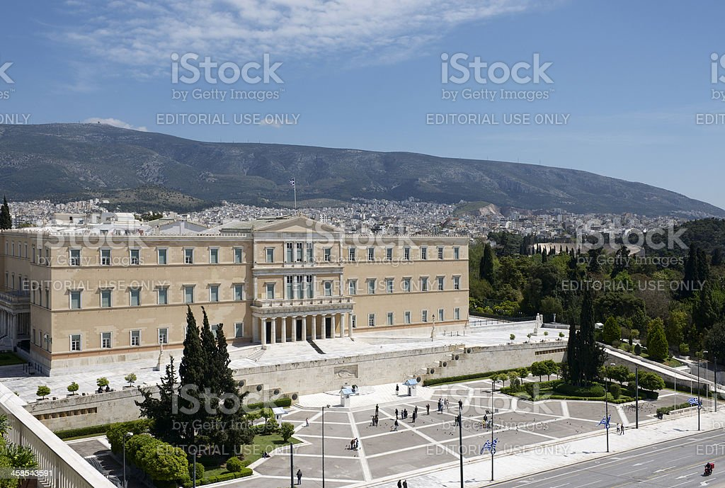 Hellenic Parliament Building and Syntagma Square in Athens in Greece stock photo