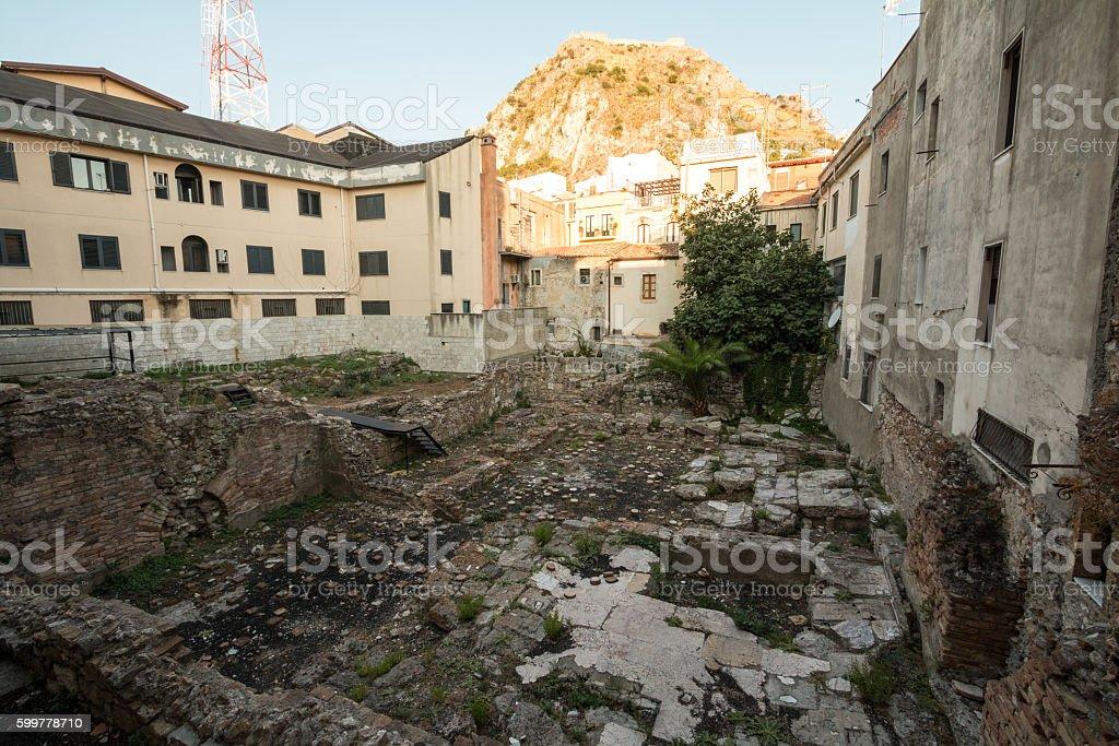 Hellenistic Bath Building in Taormina, Sicily stock photo