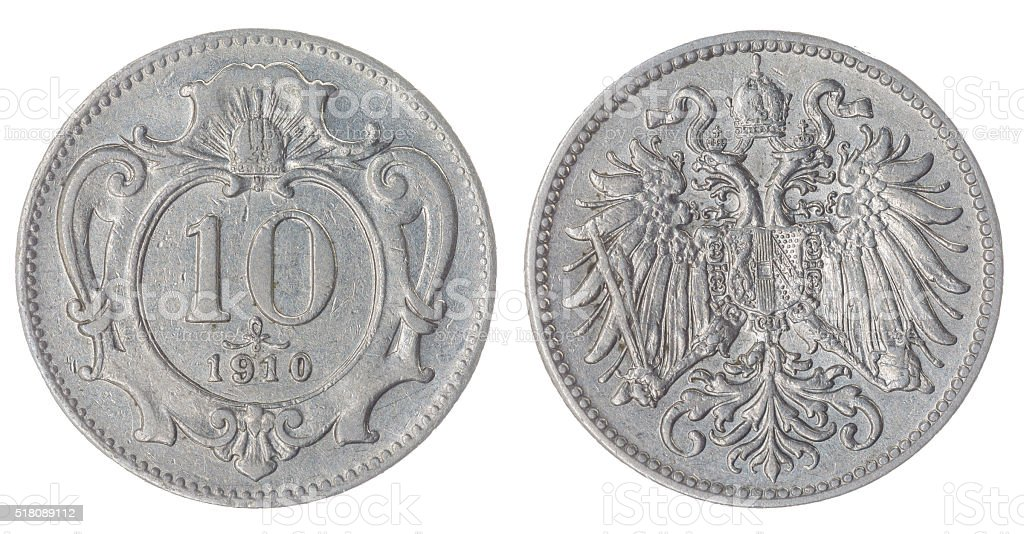 10 heller 1910 coin isolated on white background, Austro-Hungari stock photo