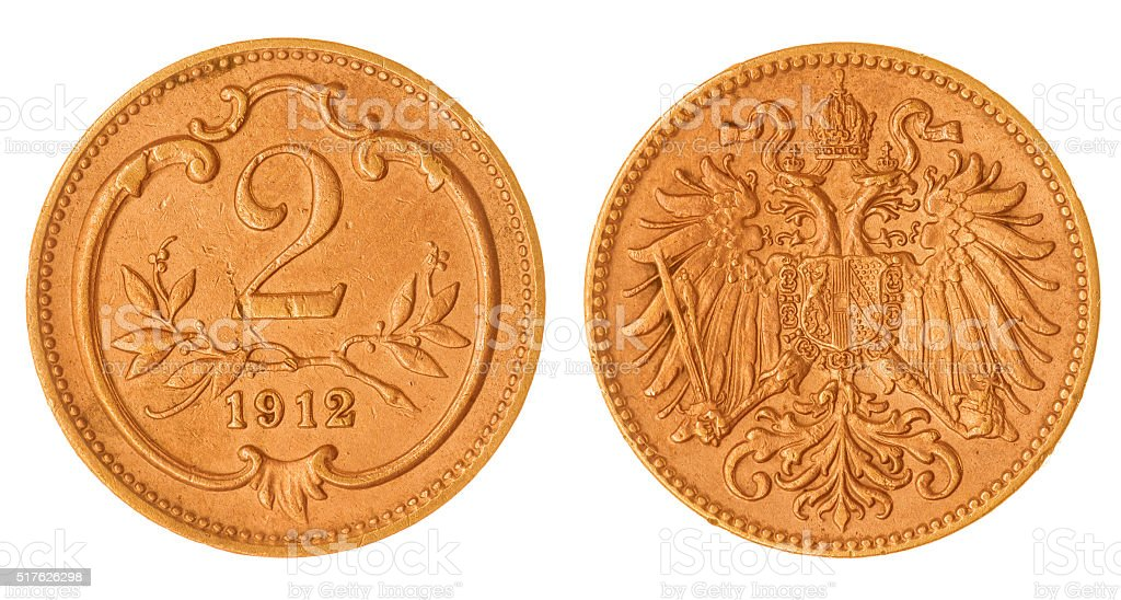 heller 1912 coin isolated on white background, Austria stock photo