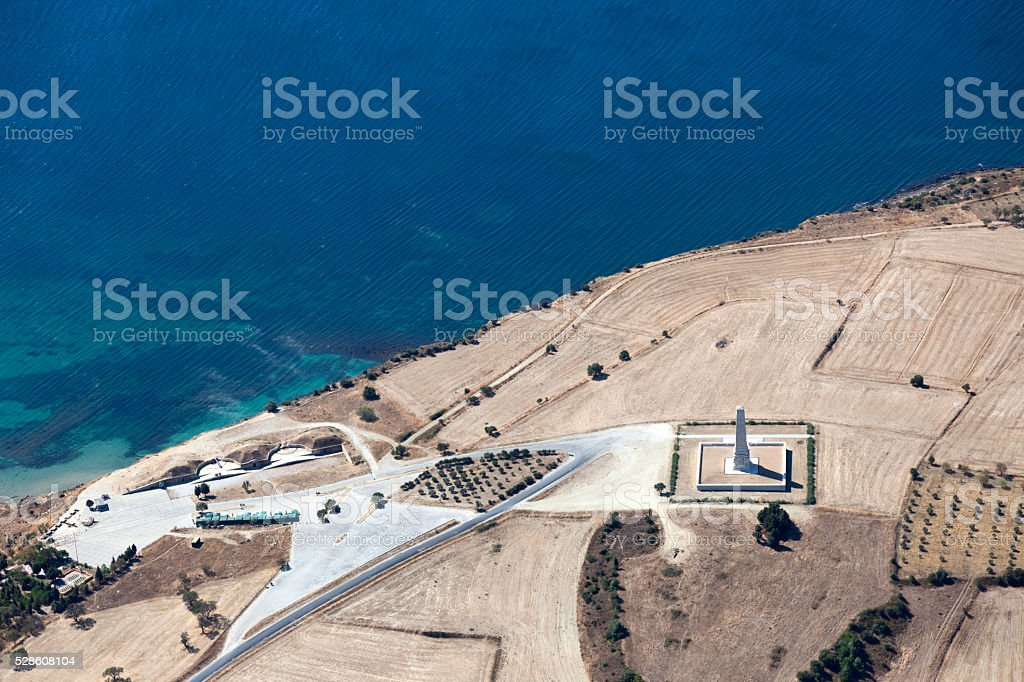 Helles Memorial Gallipolli penissula from above, Çanakkale Turkey stock photo