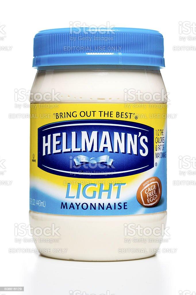 Hellmann's light mayonnaise jar stock photo