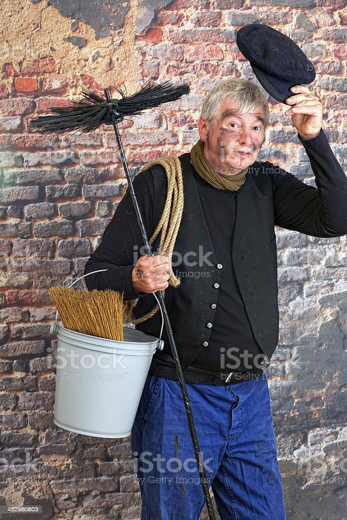 Hello chimney sweep stock photo