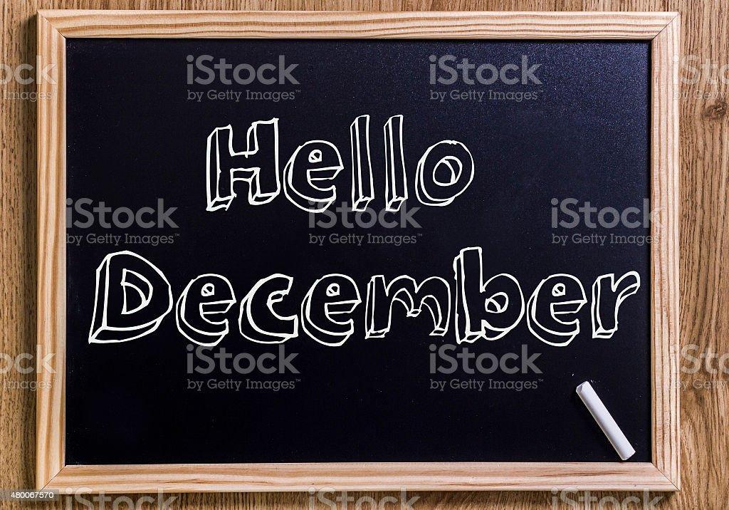 Hello December stock photo