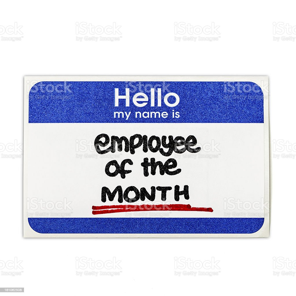 Hello: Employee of the Month stock photo