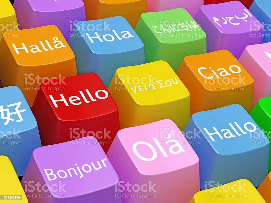 Hello in different languages on keyboard key stock photo