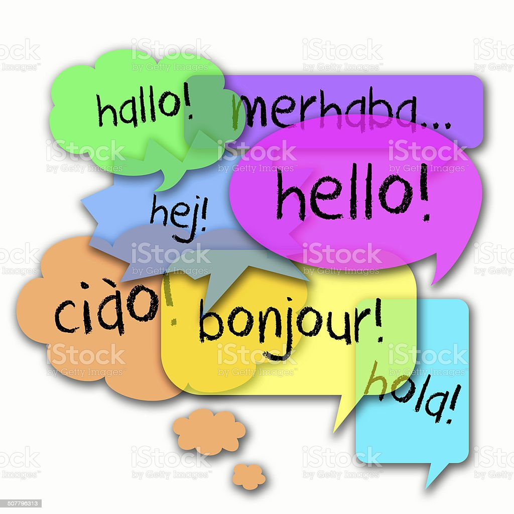 Hello in Different Languages stock photo