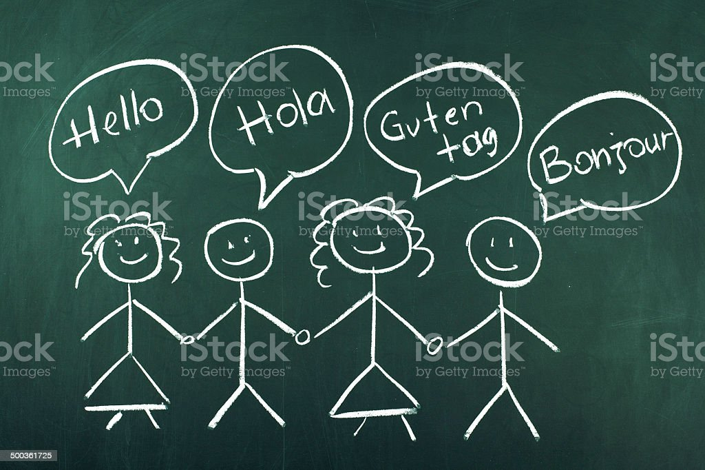 Hello in Four Different Languages stock photo