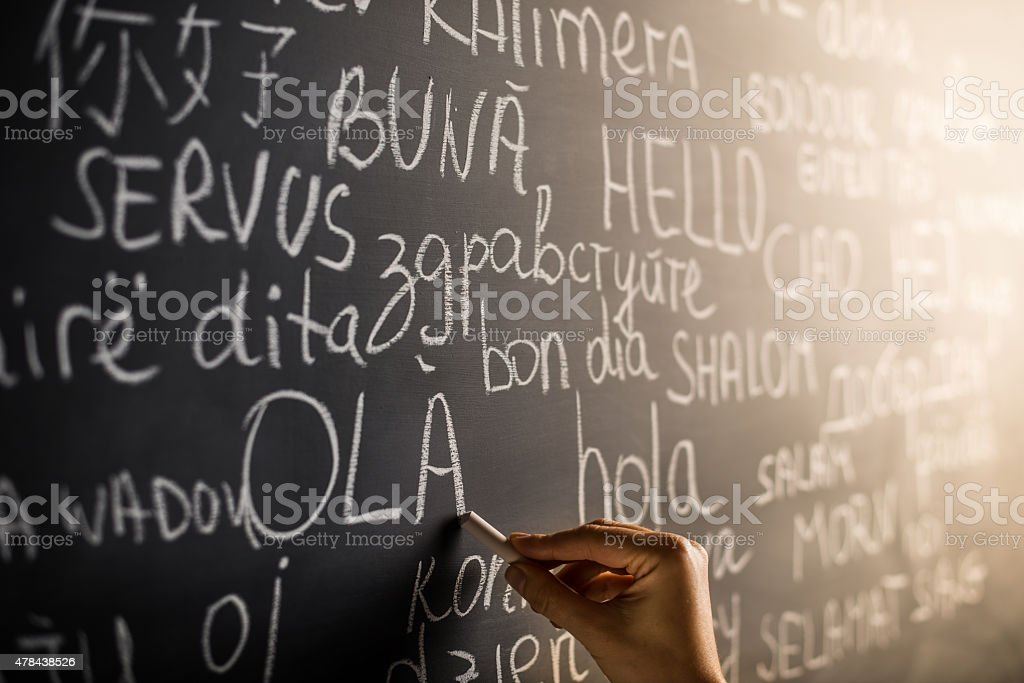 Hello in many languages stock photo