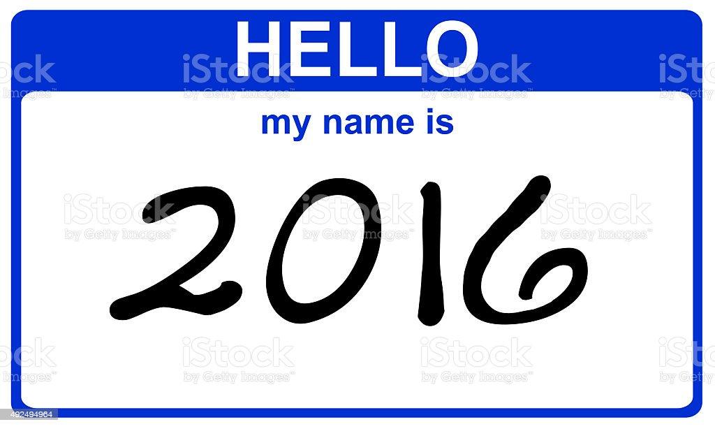 hello my name is 2016 stock photo