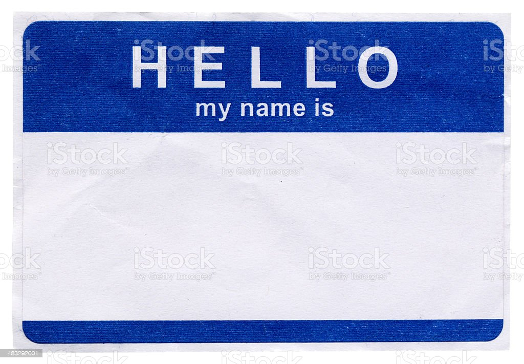Hello my name is royalty-free stock photo