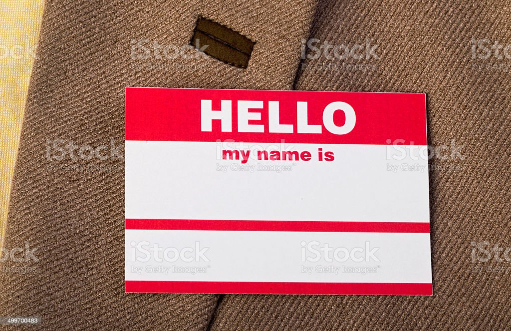 Hello my name is. stock photo