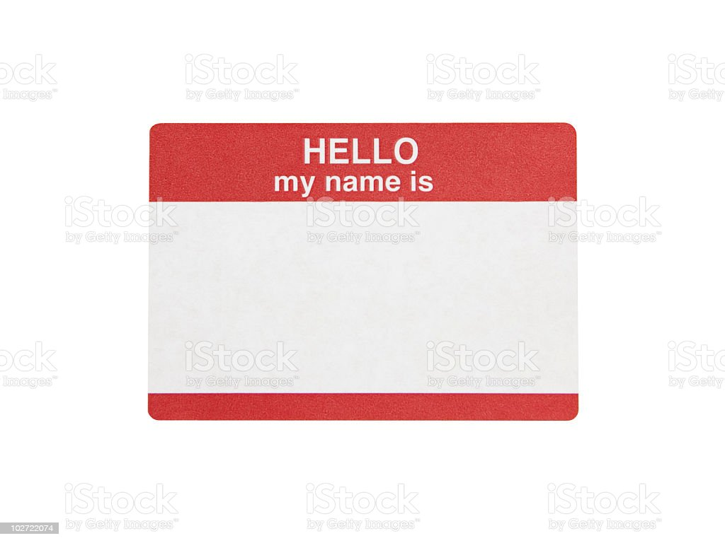Hello My Name is Sticker stock photo
