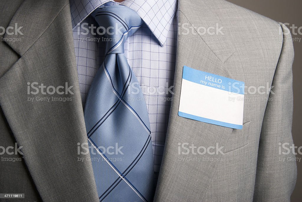 Hello My Name Is Suit and Tie stock photo