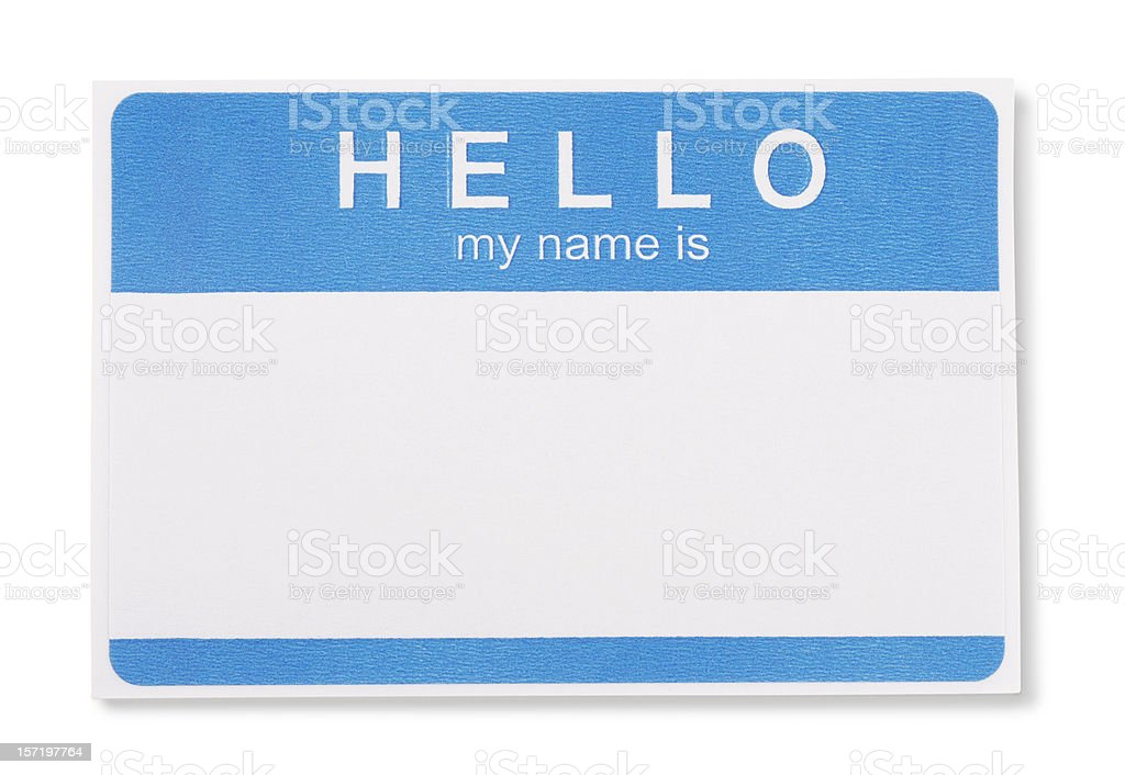Hello My Name Is Tag Badge with clipping paths stock photo