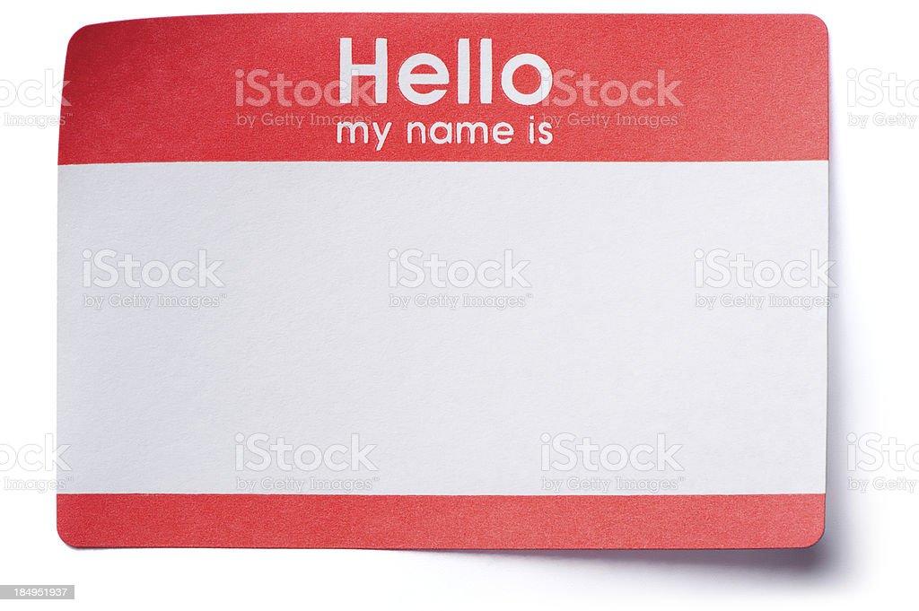 Hello Name Tag Sticker on White stock photo