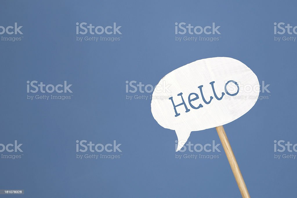 Hello speech bubble on a stick stock photo