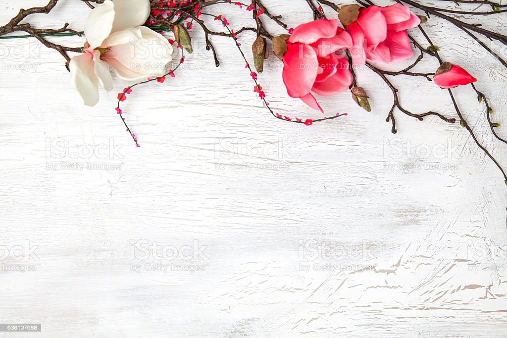 hello spring background with flowers stock photo