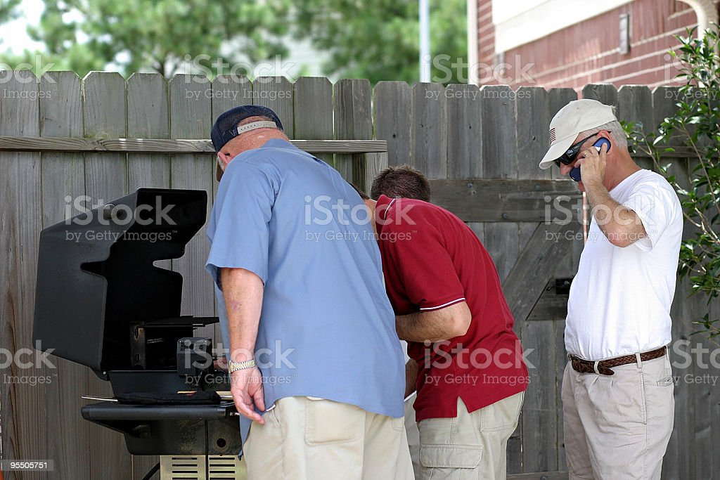 Hello, tech support?  How the heck do you start this grill! stock photo