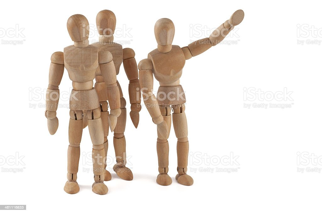 Hello! wooden mannequins waves to somebody stock photo
