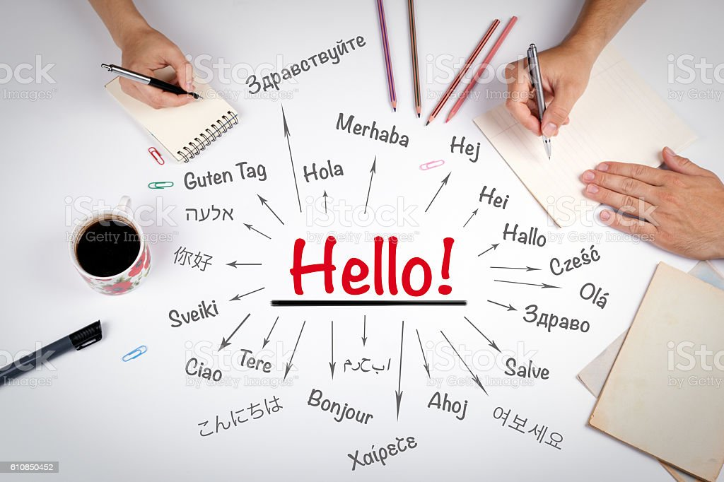 Hello word in different languages of the world stock photo