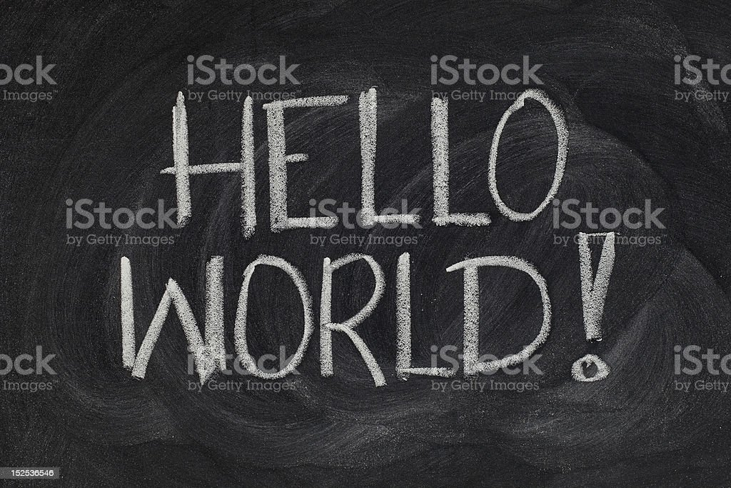 Hello, World! - message from the first computer program royalty-free stock photo