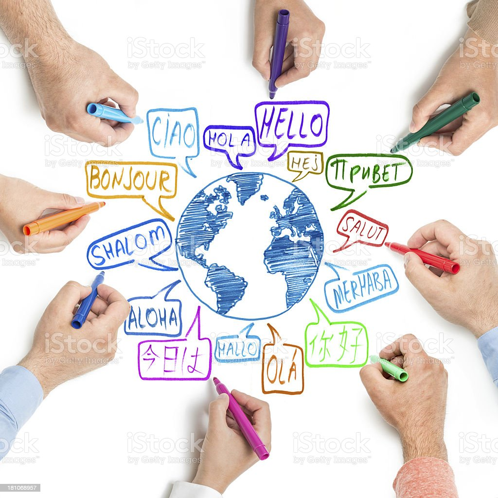 Hello written by hand in different languages stock photo