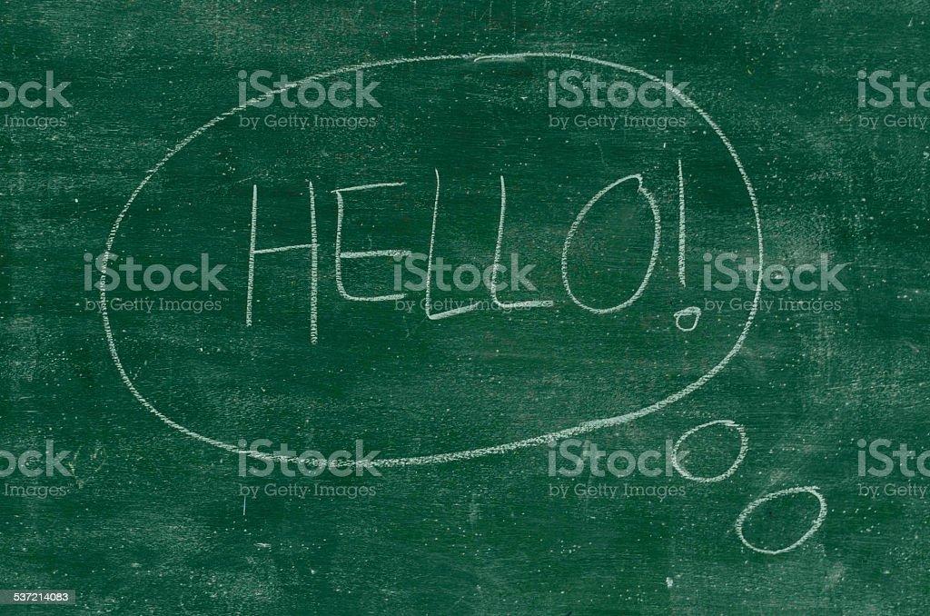 Hello written on a black chalkboard stock photo