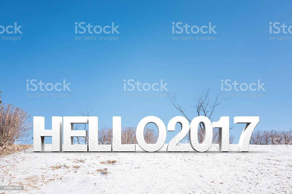 hello2017 on the snowfield stock photo