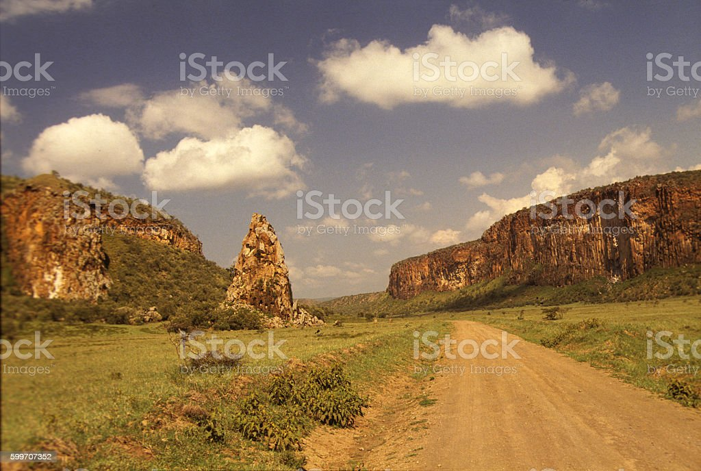 Hell's Gate National Park with the 'tower' in the distance stock photo
