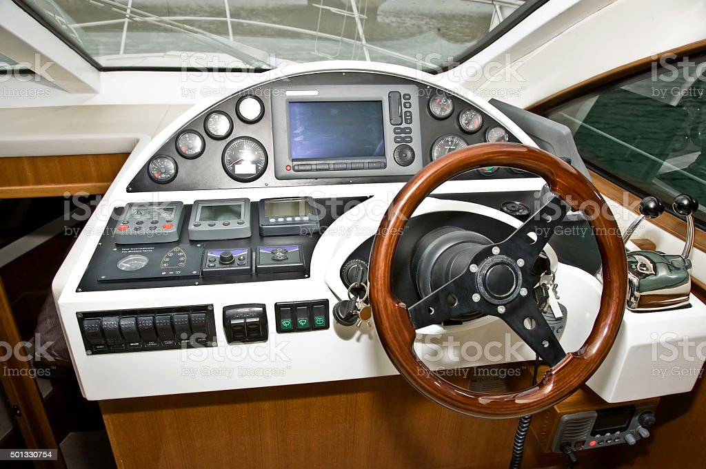 Helm of a Powerboat cruiser royalty-free stock photo