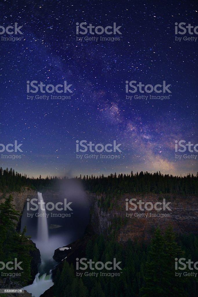 Helmcken Falls and Milky Way,  Wells Gray Provincial Park stock photo