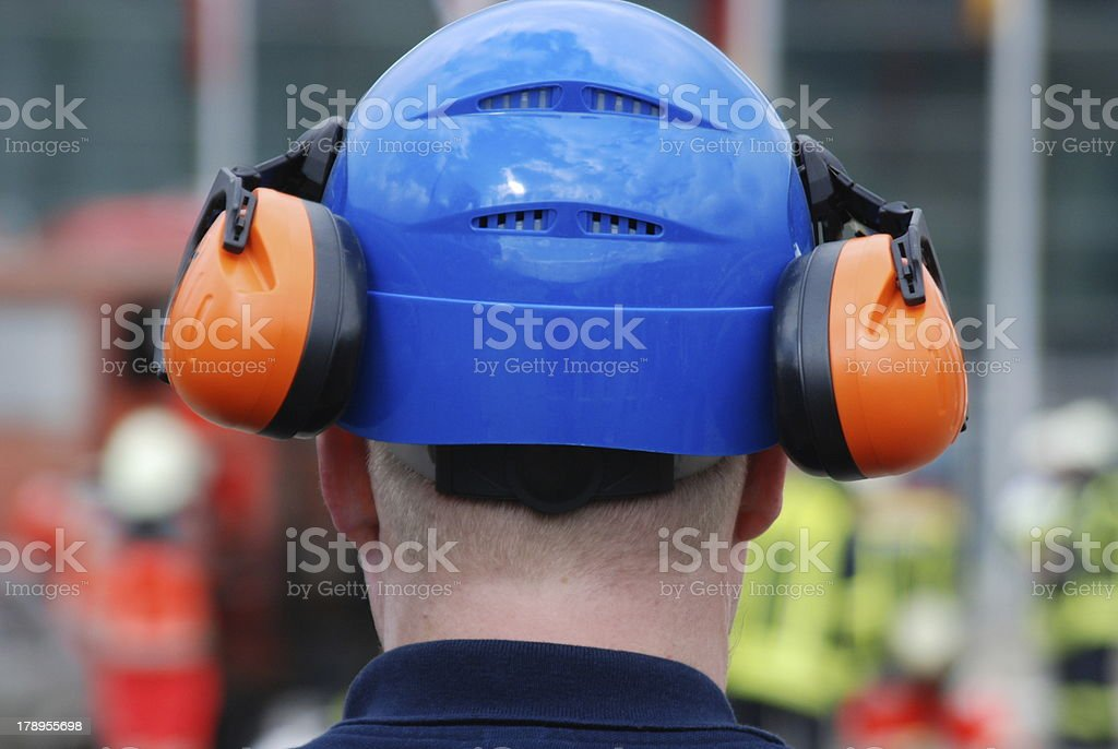 helmet and ear protection stock photo