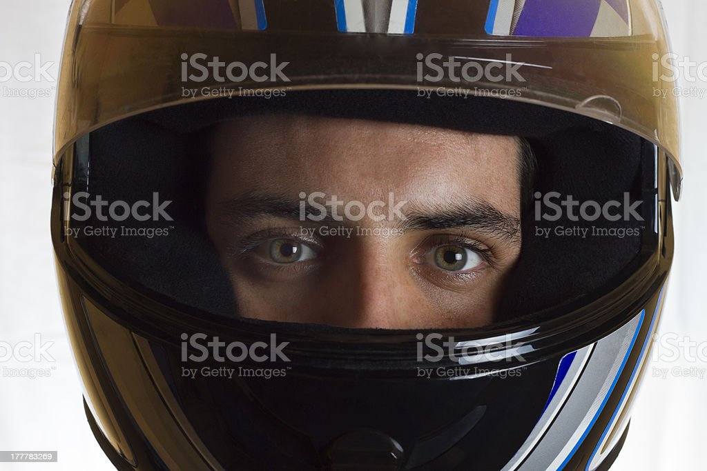 Helmet and eyes stock photo