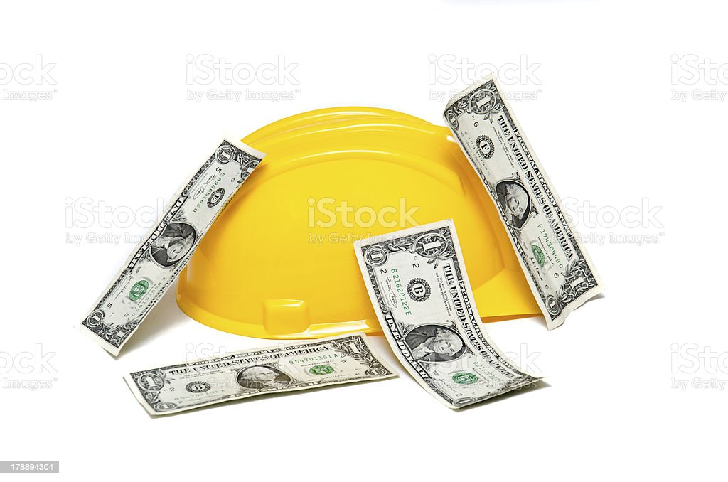 Helmet and money royalty-free stock photo