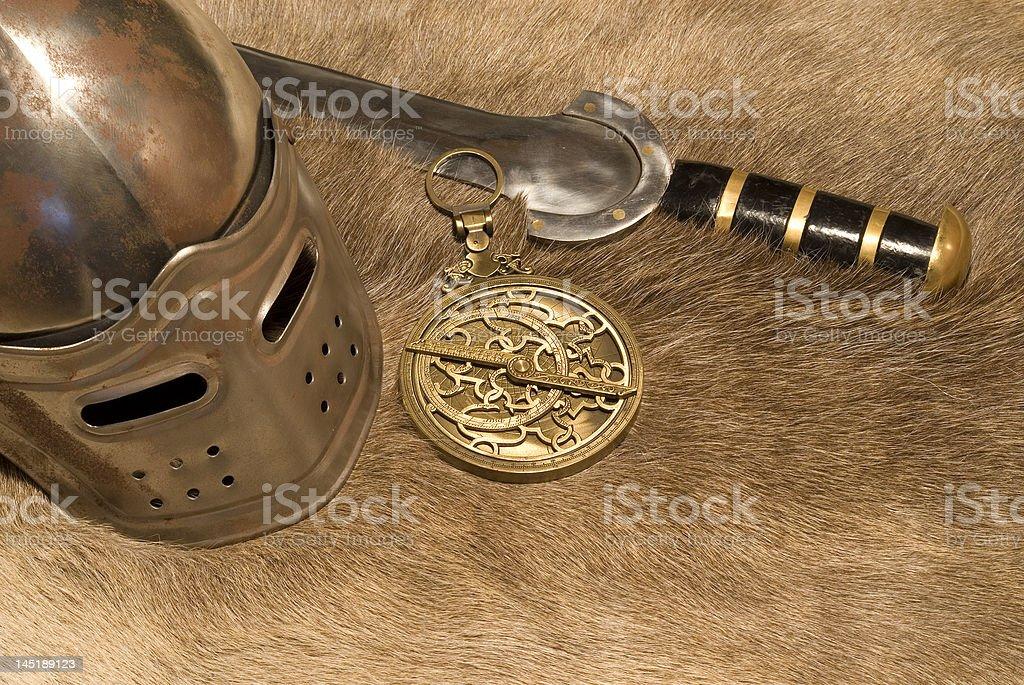 Helmet and sword stock photo