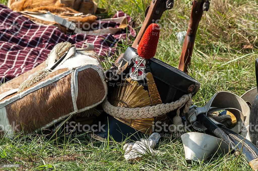 helmet and the weapon of French army of Napoleon times stock photo